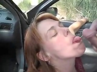 car oral-service enjoyment and jism flow with a