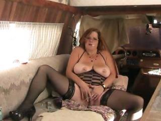 big beautiful woman granny fucks ass with dildo