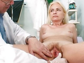 skinny curly granny woman doctor treatment