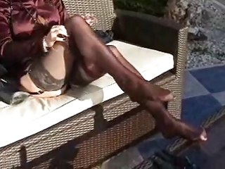 Mature satin outdoor