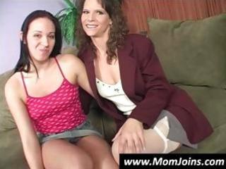 mother and daughter pose and disrobe down to show