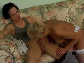 mature blonde in white fucks