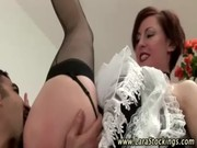 older euro babe in nylons gets her slit licked