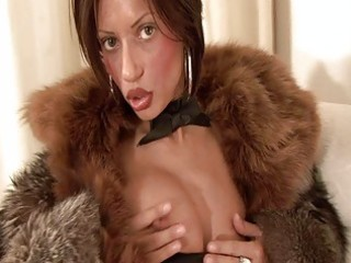 busty brunette mother i in furry coat sticks