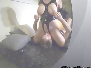 Really busty German slave is sitting on his face