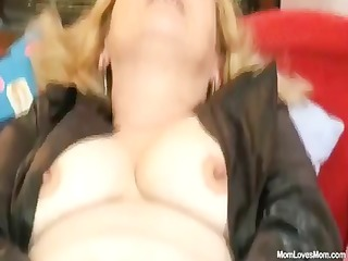 horny older lady wears nylons and toys herself