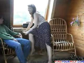 Brunette russian mom seduces sons friend and he