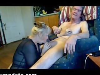 older hottie sucks hubbys cock and eats his load