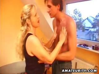 breasty amateur blond milf blows his rod, bonks
