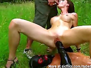 Fisting and pissing on the hot slut outdoors