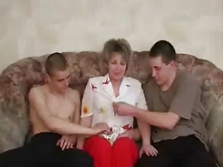 russian older enjoy with two chaps