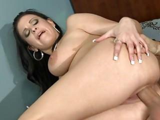 busty brunette milf fucks huge fat cock