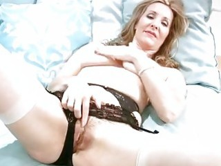 lustful mature in underware finger masturbation