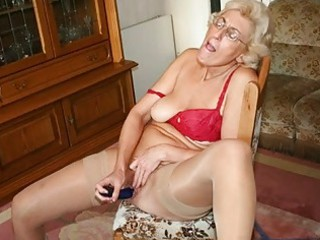 grandmom in hose masturbating with dildo