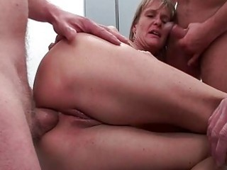 gazoo fucked mature slut gets five rock hard dicks