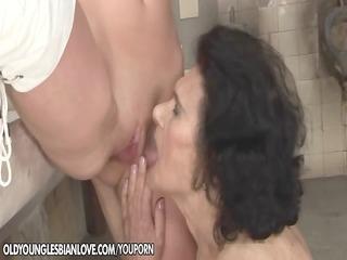 granny licking fur pie