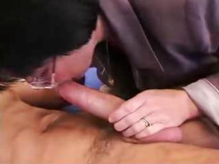 grandma wakes up young stud for anal act