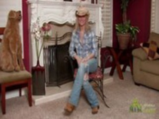 hawt cowgirl milf disrobes during interview