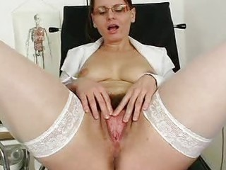 unshaved mommy wears glasses and nurse uniform