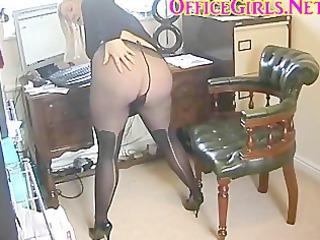 slut secretary in black pantyhose