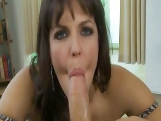 hot breasty dark brown is sucking his pounder in