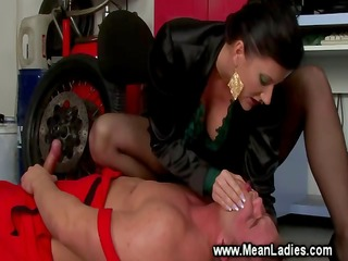 headmistress rules over a pathetic mechanic