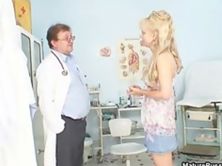 excited doctor humiliated a aged blonde mamma