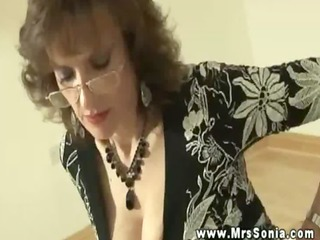 sexy breasty older makes young fellow foot