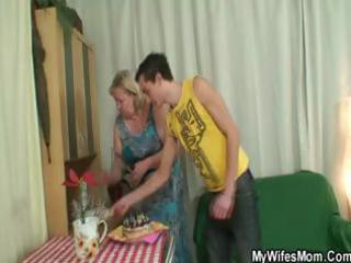 dude fucking his bulky mother in law and his wife