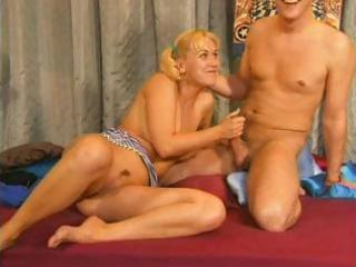 skinny golden-haired granny can not make a